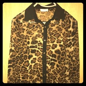 Tops - Animal print chiffon shirt